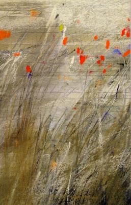 fields, pastel, gesso, graphite